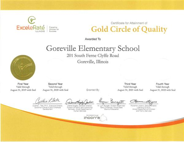 GOREVILLE PRE-K NAMED GOLD QUALITY